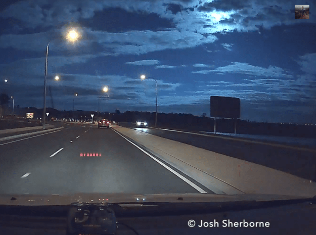 Awesome dash cam video catches a meteor exploding in mid air