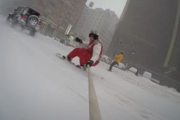 Snowboarding New York Police Blizzard