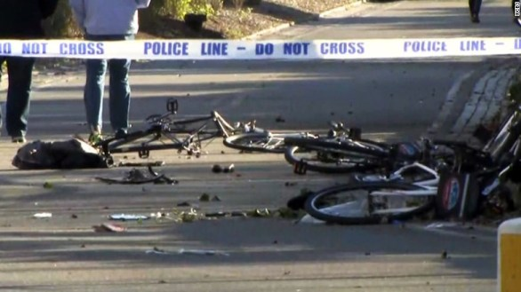 Parts of mangled bikes were strewn on the ground in Manhattan on Tuesday.