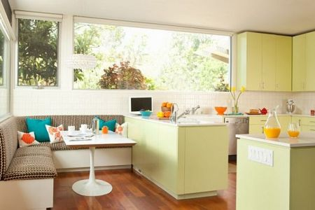 bright green kitchen decor with colorful pillows breakfast nook