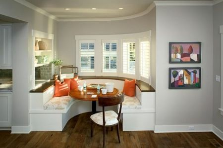 kitchen built in booth family friendly dining area