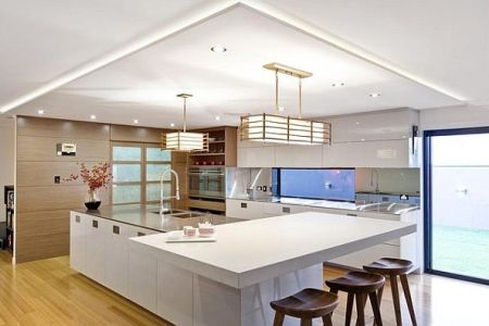 anese modern kitchen design with white furniture and large island