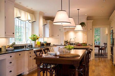 modern kitchen lighting and windows treatments