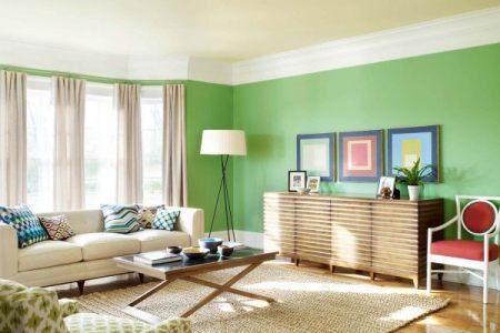 a bright green living room