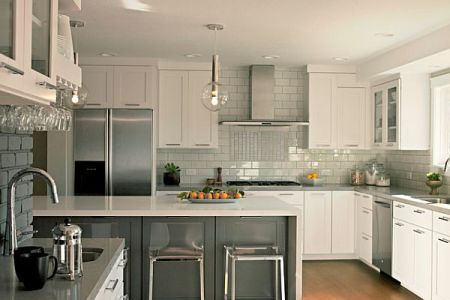 grey and white kitchen furniture with grey backsplash