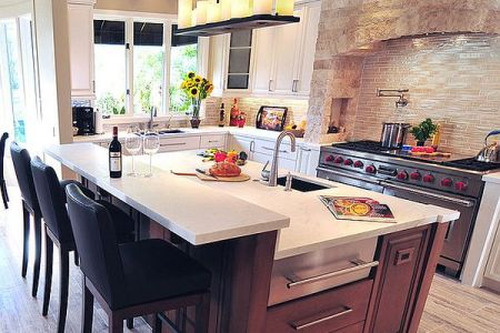 mediterranean kitchen design with modern island