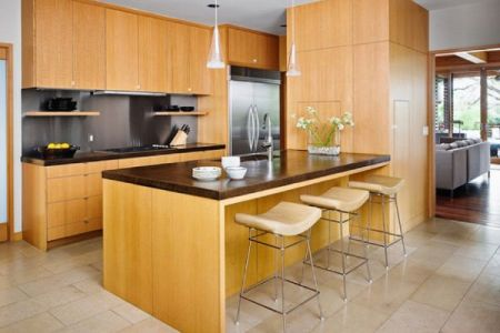 lovely little asian kitchen design with rift sawn white oak cabinetry