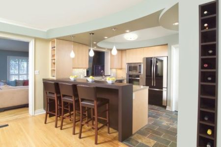eclectic kitchen design with island bar and cool blue ceiling