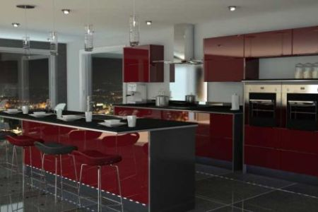 kitchen in red and black
