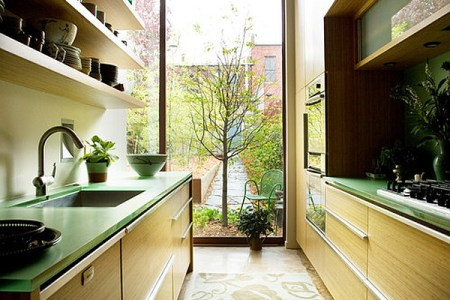 green themed galley kitchen1