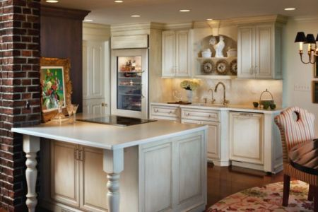 small and open kitchen design with gl door refrigerator