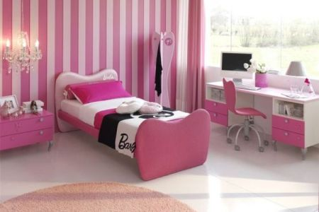 cute and cozy girls bedroom idea in pink