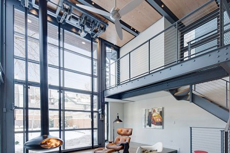 metal staircase in an industrial home