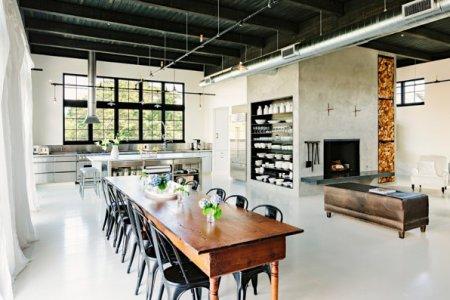metallic details in an industrial home
