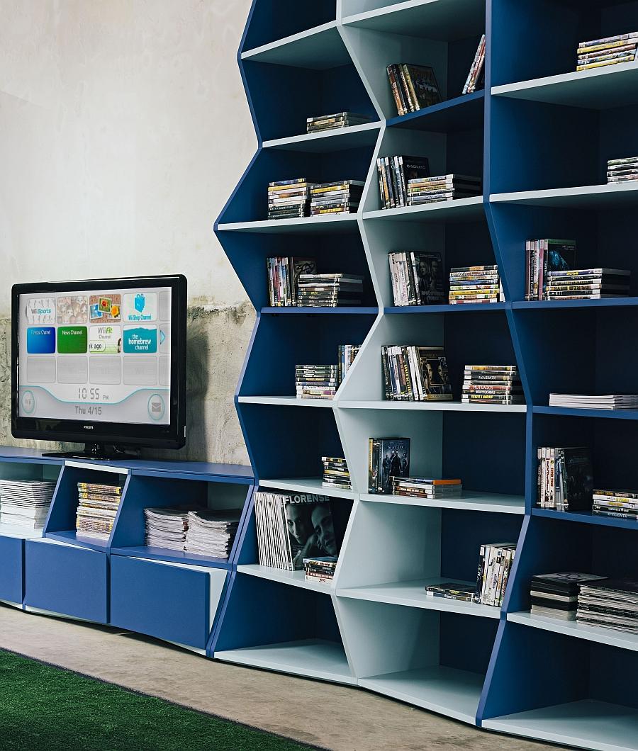 Considerable Gallery Bookshelf Blue Zigzag Bookshelf By Henrique Str Is But Shelf Brackets Design Bookshelves View furniture Modern Contemporary Bookshelves