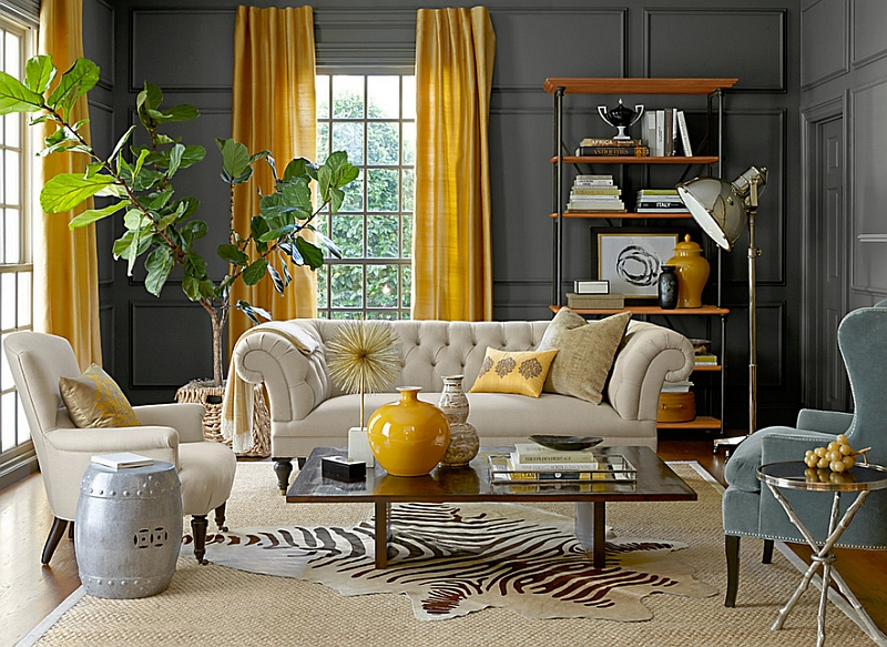 Gray And Yellow Living Rooms  Photos  Ideas And Inspirations View in gallery Eclectic living room with gray walls and yellow drapes