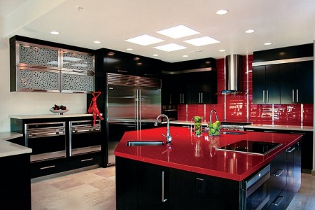 sparkling contemporary kitchen in black and red
