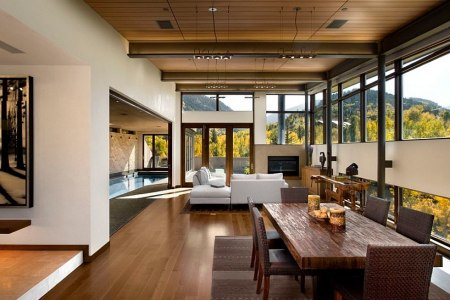 chic rustic living room with scenic views