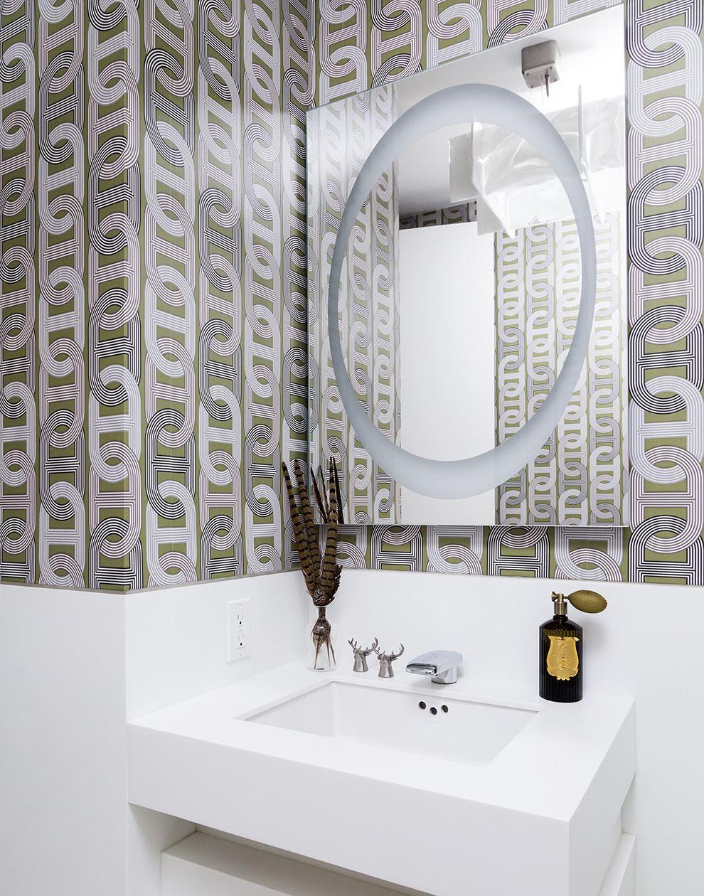 Nice Bathrooms Ideas Wallpaper Bathrooms Canada A New York City Bathroom Create A Bathroom On A Budget Wallpaper View Gallery Geometric Wallpaper houzz 01 Wallpaper For Bathrooms