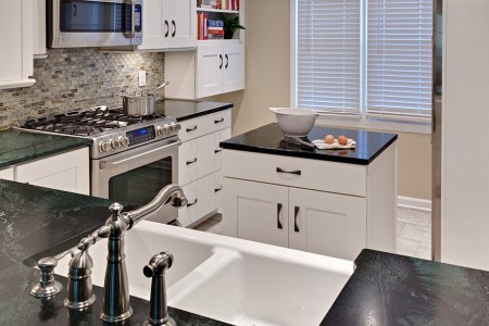 elegant small kitchen with a smart island at its heart