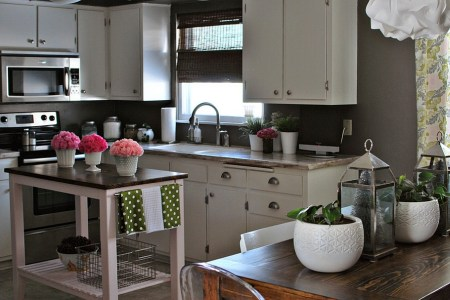 fabulous use of a small open island in the tiny kitchen