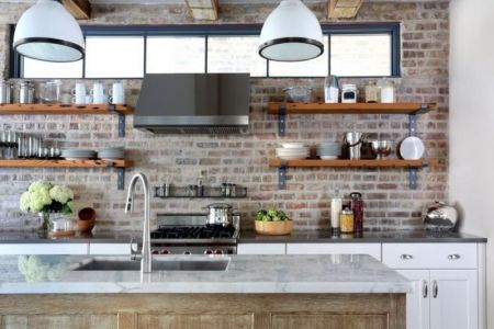 industrial kitchen with open shelving