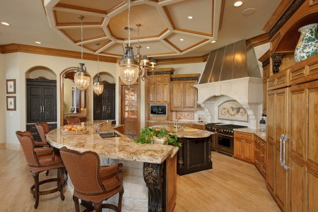 ceiling steals the show in the kitchen