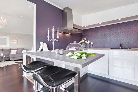 regal purple backsplash in the kitchen