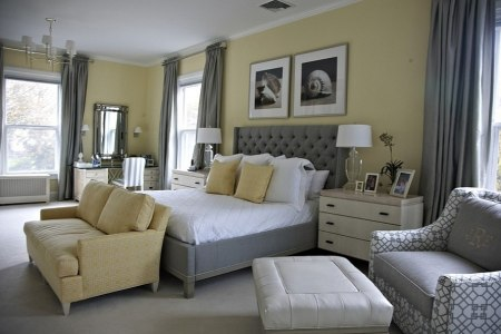 beach style bedroom in yellow with a splash of gray