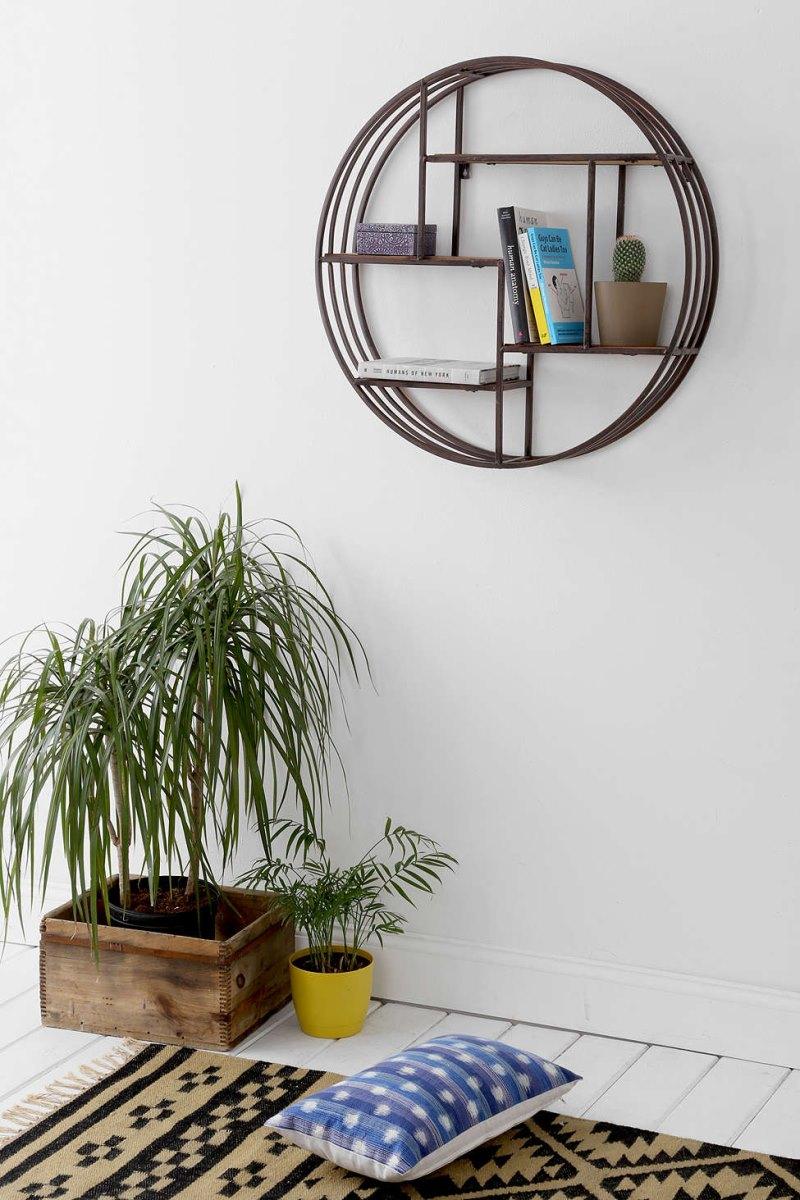 Splendiferous Living Room Wall Shelf Design Ideas View Gallery Circular Wall Shelf From Urban Outfitters Geo Wall Shelf Designs Wall Shelf Design Ideas interior Wall Shelf Designs