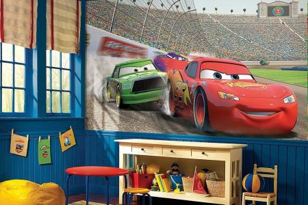modern bedroom with disney cars themed decor and wall decal