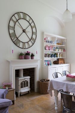 Charmful Shabby Rooms Living Room Giant Wall Clock Hutch Add Personality To This Paul Table Table Design Small Living Room Designs