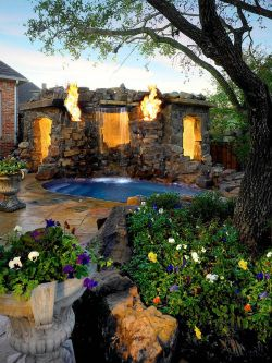 Beauteous Water Backyard Landscaping Ideas S Tropical Scape Combines Fire Backyard A Spectacularfashion Platinum Series Spectacular Tropical Landscaping Ideas Landscape Ideas