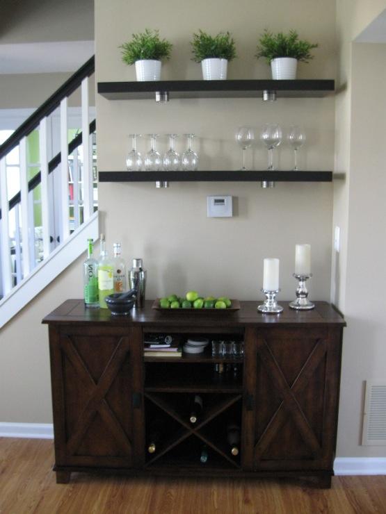 living rooms - Benjamin Moore - Shaker Beige - Ikea Lack Shelves World Market Verona Buffet Bar wine rack shaker beige  Living room Bar Area