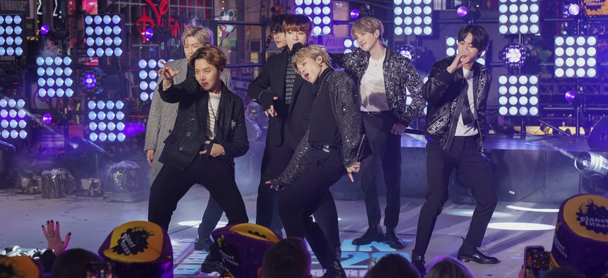 South Korean K-Pop boy band BTS caused uproar in China after RM, the band's leader, thanked Korean War veterans for their sacrifices but made no mention of China. File photo from December 31, 2019, in Times Square, New York City.