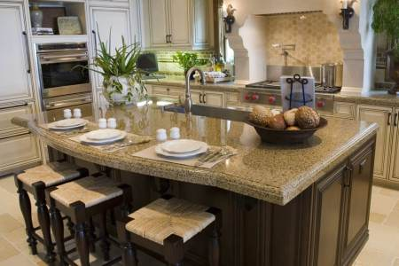 eat in kitchen island with granite counters