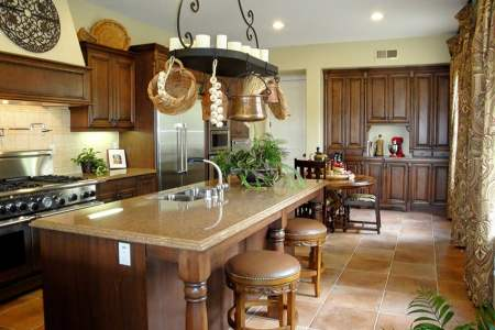 rustic wood kitchen with large island