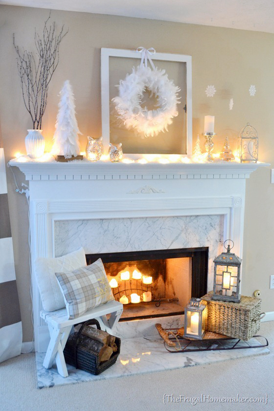25 Winter Fireplace Mantel Decorating Ideas Cozy owl and candle mantel