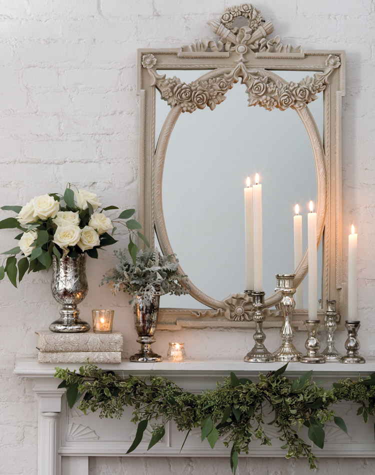 25 Winter Fireplace Mantel Decorating Ideas Roses and candles mantel