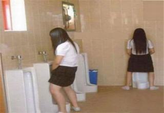 girls using bathroom school