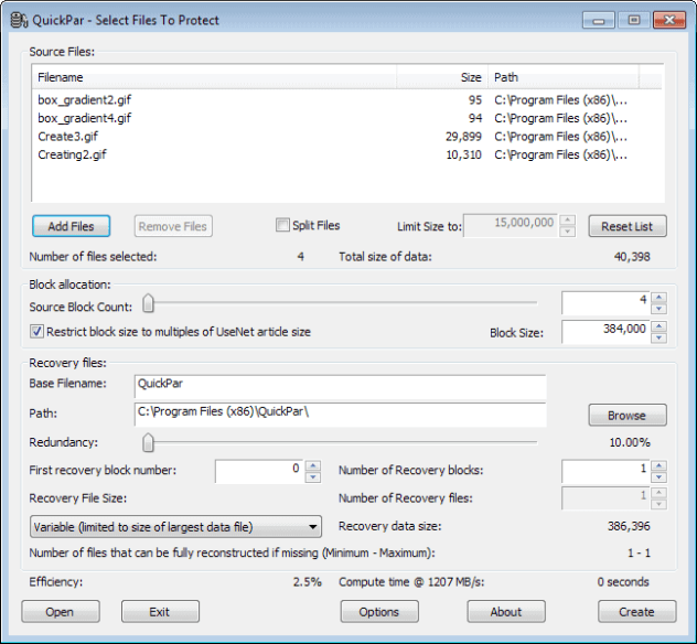 quickpar create recoverable archives