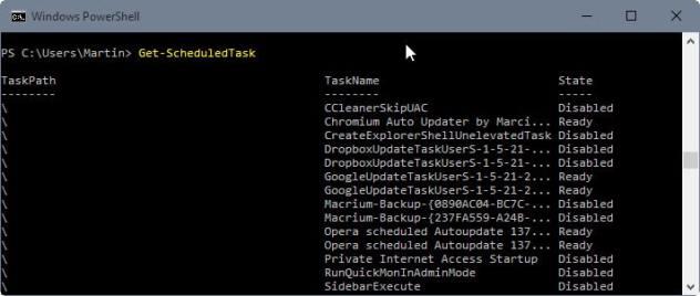 display scheduled tasks