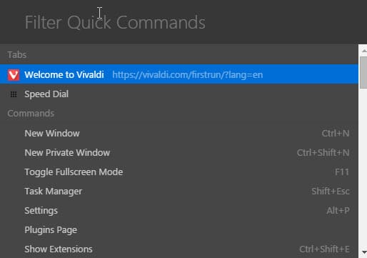 vivaldi quick commands