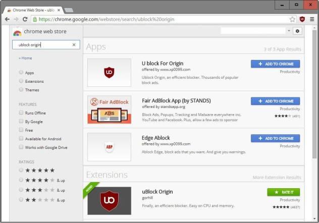 ublock origin fake app