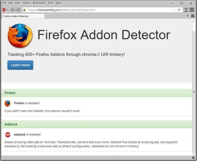 firefox addon detector