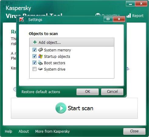 virus removal tool settings