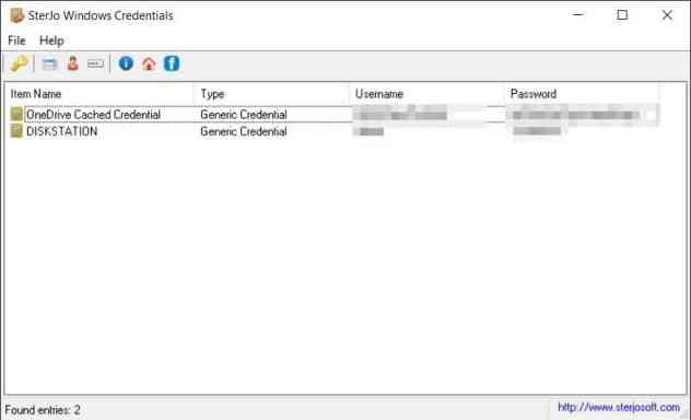 Sterjo Windows Credentials Screenshot