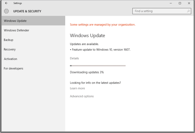 feature update-to windows 10 version 1607