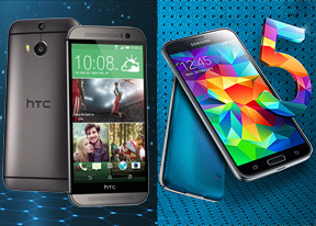 samsung galaxy s5 vs htc one m8 leather and steel