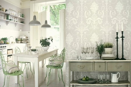 antique white kitchen with jacquard